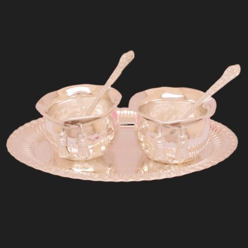 SILVER PLATED TIE BOWL SET OF 5 WITH ENGRAVED WORK(2 BOWL 2 SPOON 1 PLATE)