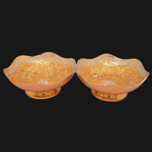 22 CT GOLD PLATED BOWL SET OF 2 PCS
