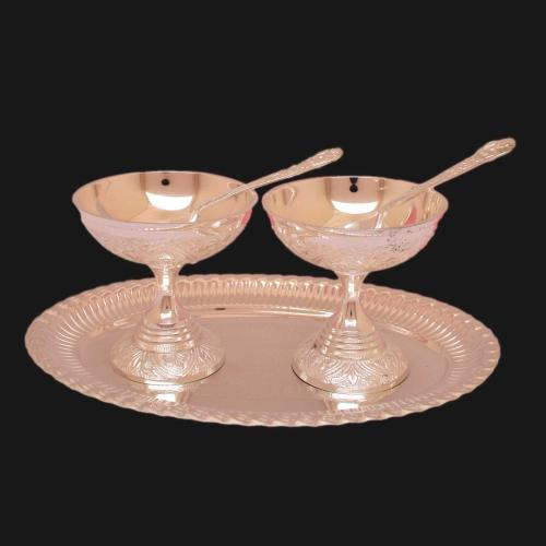 SILVER PLATED ICE CREAM BOWL SET OF 5(2 BOWL 2 SPOON 1 PLATE)