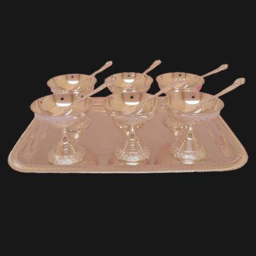 SILVER PLATED ICE CREAM BOWL SET OF 13(6 BOWL 6 SPOON 1 PLATE)