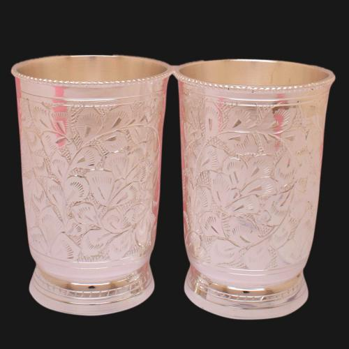 SILVER PLATED GLASS SET OF 2 ENGRAVED WORK