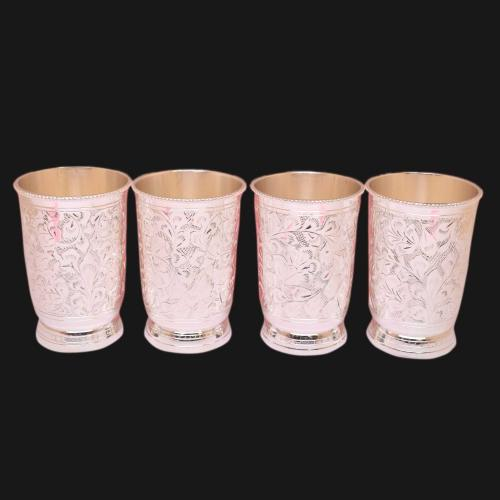 SILVER PLATED GLASS SET OF 4 ENGRAVED WORK