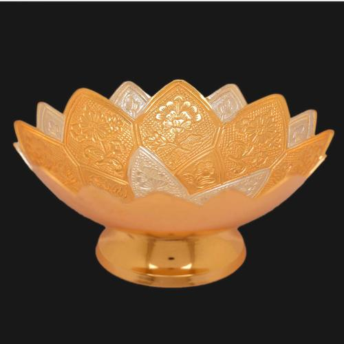 22 CT GOLD PLATED DUAL TONE BOWL WITH ENGRAVED WORK