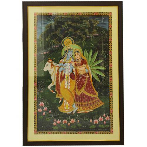 CANVAS PAINTING RADHA KRISHNA WITH COW