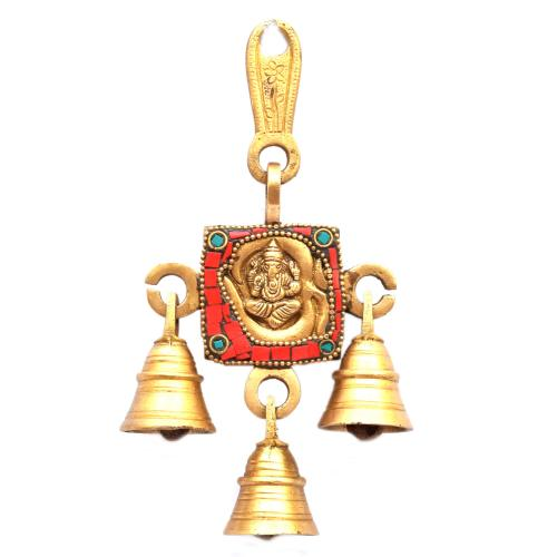 BRASS OM GANESHA BELL 1 IN 1