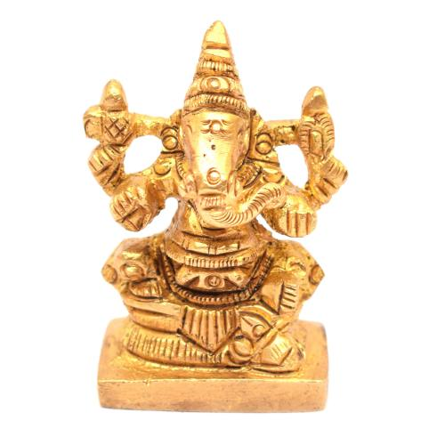 BRASS GANESHA SITTING ON SQUARE BASE