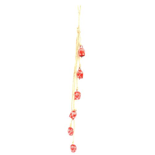 6 RED BELL STRING WIND CHIME