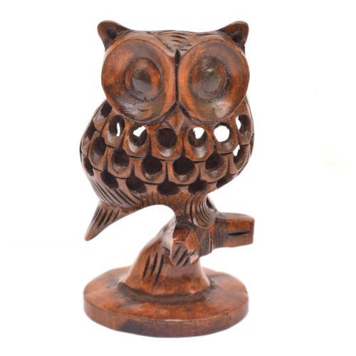 WOODEN OWL CUT FINE TRUNK OXOD