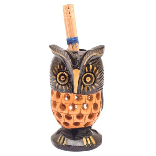WOODEN OWL ROUND TOOTH PICK WITH BALC