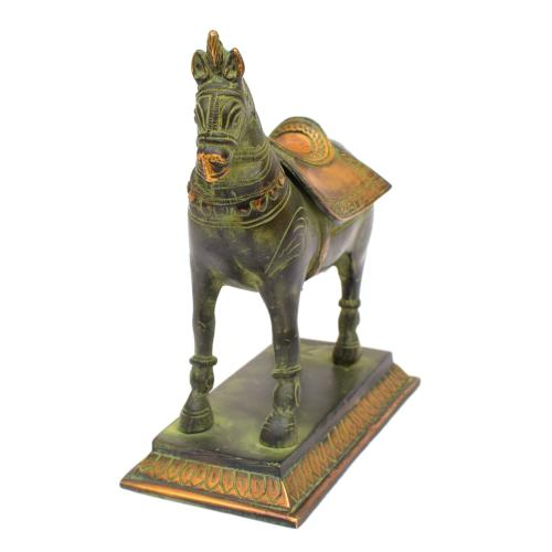 BRASS HORSE STANDING ON STAND