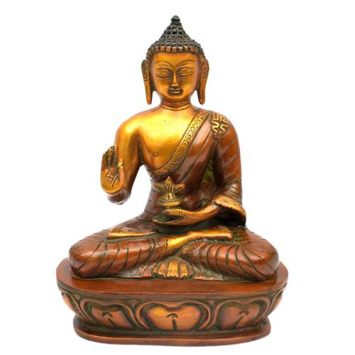BRASS BUDDHA MEDICINE SITTING ON BASE