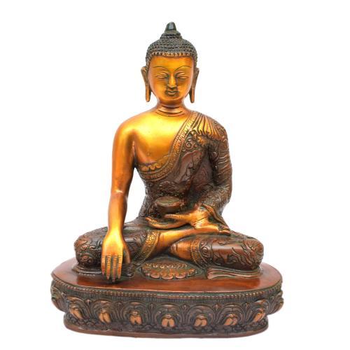 BRASS BUDDHA SITTING ON BASE