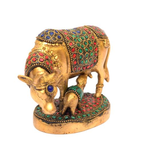 BRASS COW AND CALF