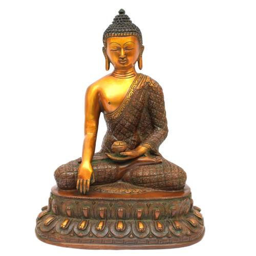 BRASS BUDDHA SITTING ON BASE
