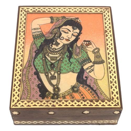 GEM STONE PAINTING WOOD BRASS JEWELLEY BOX