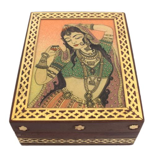 GEM STONE PAAINTING WOOD BRASS JEWELLERY BOX