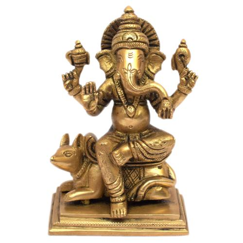 GANESH SITTING ON MOUSE ON SQ BASE