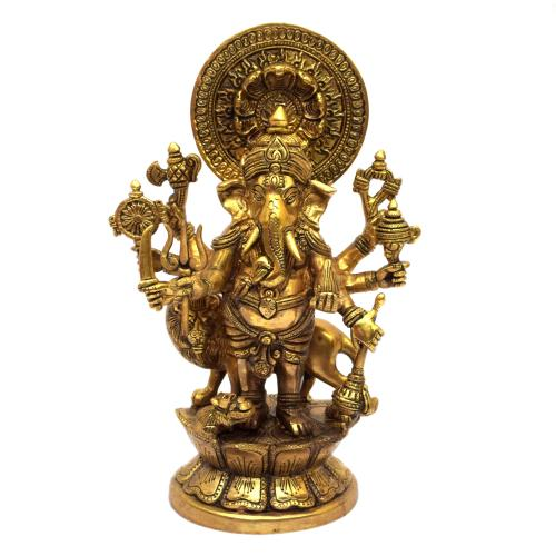 BRASS 8 HAND DRISHTI GANESHA STANDING WITH LION