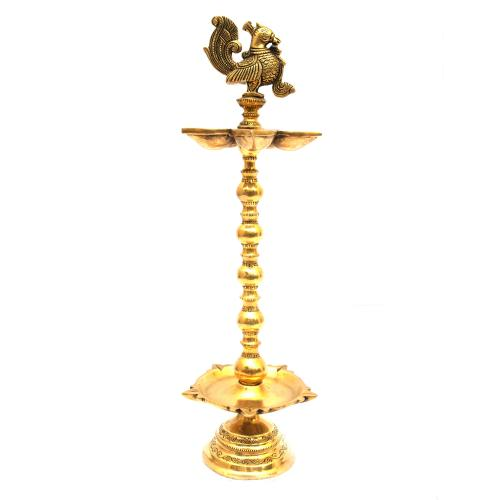 BRASS PEACOCK 2 STEP OIL LAMP