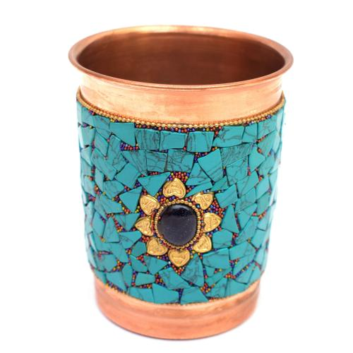 COPPER GLASS NEPALI STONE WORK