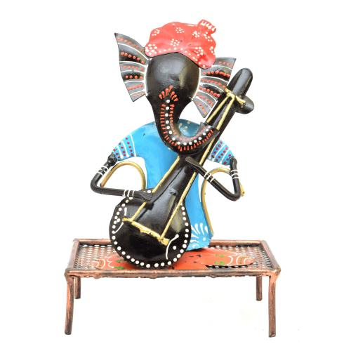 DECORATIVE HANDICRAFTS GANESHA SITTING ON DIWAN WITH FLUTE