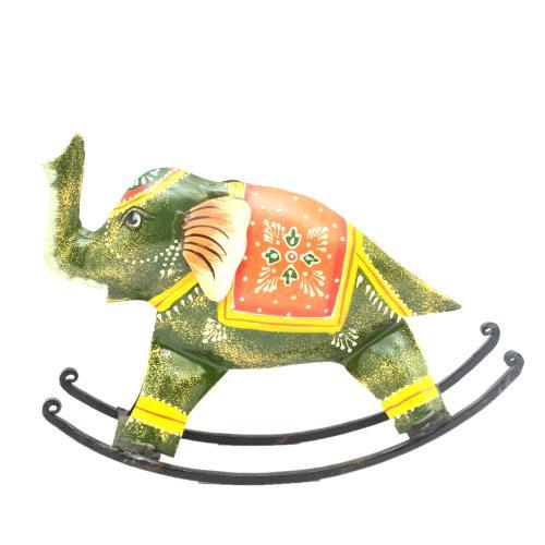 DECORATIVE HANDICRAFTS PAINTED ROCKING ELEPHANT