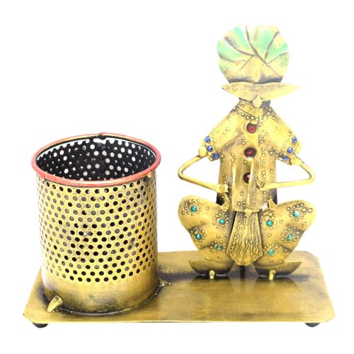 DECORATIVE HANDICRAFTS MUSICIAN WITH PEN JAR STAND