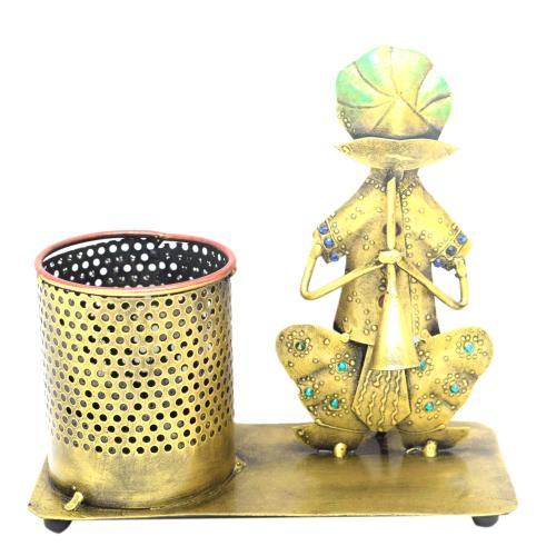 DECORATIVE HANDICRAFTS MUSICIAN WITH PEN JAR STAND