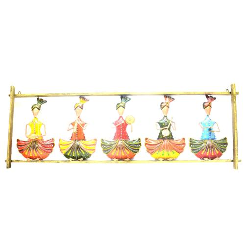 DECORATIVE HANDICRAFTS PAINTED 5 SITTING BALI MUSICIAN PANEL