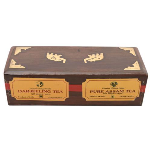 DARJEELING,ASSAM TEA POWDER IN WOODEN BOX