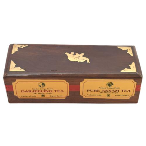 DARJEELING,ASSAM TEA POWDER IN WOODEN BOX
