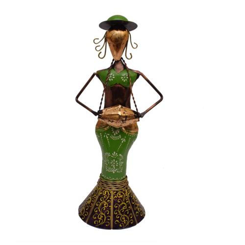 DECORATIVE HANDICRAFTS PAINTED LADY DOLL CAP MUSICIAN STANDING
