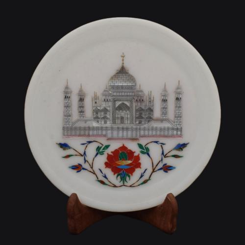 MARBLE TAJ INLAY PLATE WITH STAND