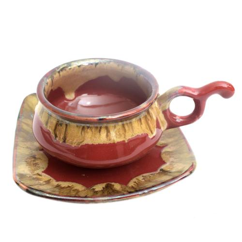 STUDIO POTTERY CUP AND SAUCER D-