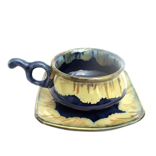 STUDIO POTTERY CUP AND SAUCER S-1034