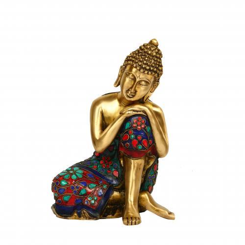 BRASS BUDDHA RELAXING STONE WORK
