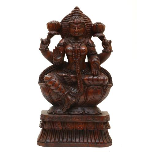 VAAGAI WOODEN LAKSHMI SITTING LOTUS BASE