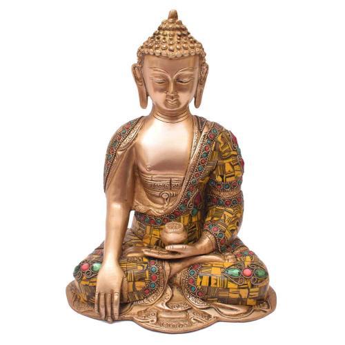 BRASS BUDDHA MEDITATION WITH STONE WORK