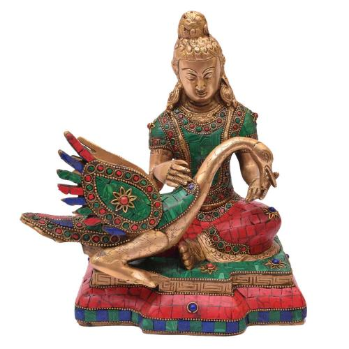 BRASS BUDDHA SITTING W SWAN WITH STONE WORK