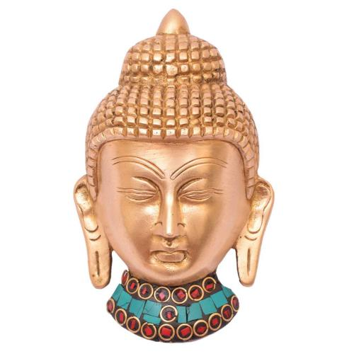 BRASS BUDDHA HEAD WALL HANG
