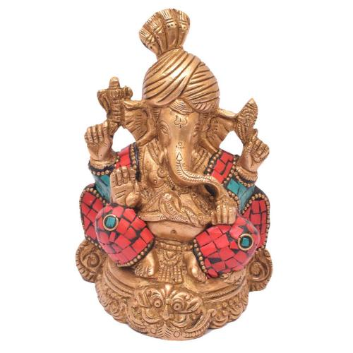 BRASS PAGARI GANESHA  SITTING WITH STONE WORK