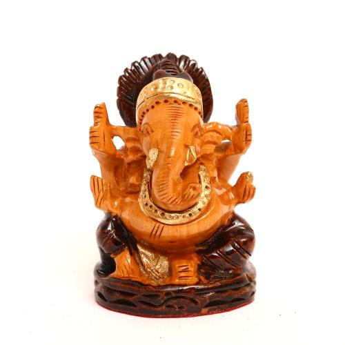 WOODEN GANESHA PAINTED
