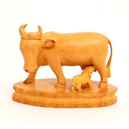 WOODEN COW AND CALF
