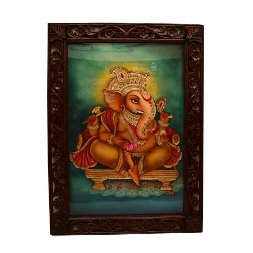 HAND MADE PAINTING GANESHA SITTING ON DIWAN