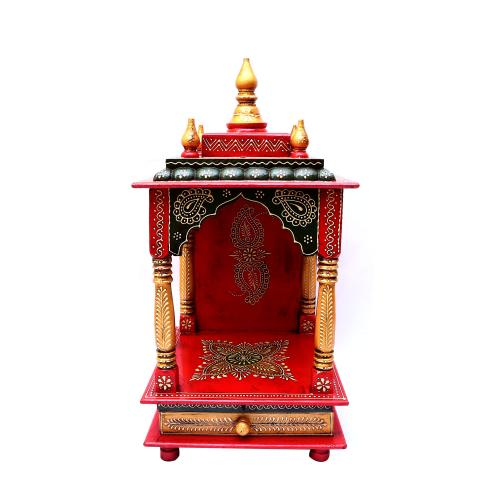 WOODEN PAINTED POOJA MANTAP