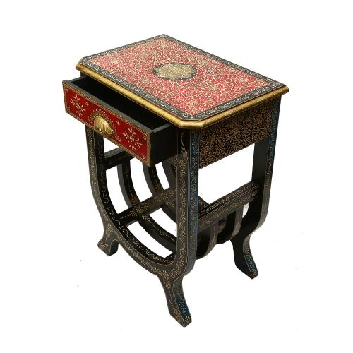 WOODEN PAINTED 1 DRAWER STOOL