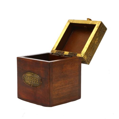 WOODEN BRASS WORK SUGAR BOX