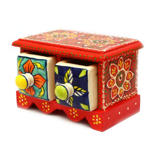 WOODEN PAINTED 2 DRAWER BOX