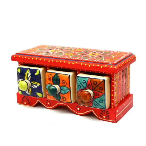 WOODEN PAINTED 3 DRAWER BOX