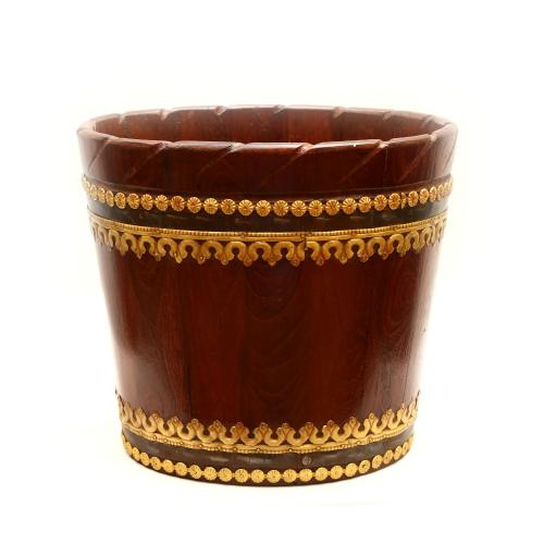 WOODEN PLANTER WITH BRASS WORK